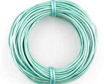 Mint Metallic Round Leather Cord 1mm 100 meters (109 yards) Lead Free