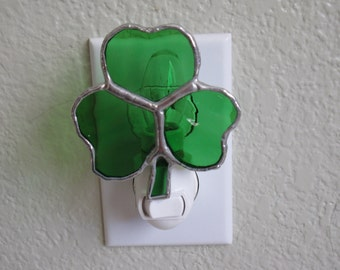 Stained Glass Shamrock Night Light or Ornament
