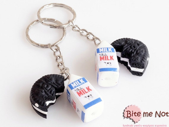 Best Friends Oreo Keychains Charm - BFF Milk and Oreo Cookie Charm, Polymer Clay Charm, Mini Food Charms, Kawaii Charms, Miniature Charm