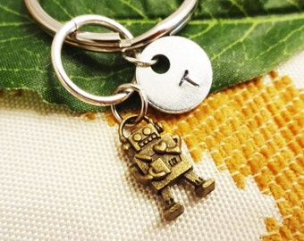 "BRONZE ROBOT KEYCHAIN - tiny robot - with initial charm (fits 1-2 characters) - Read ""item details"" below and see all photos"