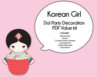 Korean Girl Dol Party Value Pack -Printable PDF Download