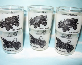Antique car drinking glasses, tumblers, barware, man cave, set of 3