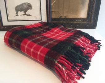 Vintage Plaid Wool Throw Blanket