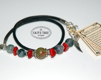 Gypsy Boho Chic Gemstone beaded handmade genuine leather cord bracelet with Unakite Red Coral Jasper beads and silver plated findings