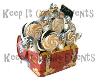 Lollipop Candy Birthday Arrrrrrrrangement, Pirate Theme. Birthday Centerpiece, Pirate Centerpiece, Treasure Chest Centerpiece, Candy,