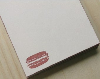 vintage inspired flat note cards and envelopes, stationery set, french macaron, macaroon, a2, set of 10