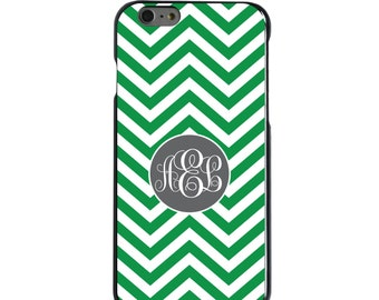 Hard Snap-On Case for Apple 5 5S SE 6 6S 7 Plus - CUSTOM Monogram - Any Colors - Green White Grey Chevron Circle
