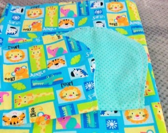 Safari Animals Tigers Lions with Blue Poke Dot Backing Hemstitched Baby Blanket and Burps ready for you to crochet by Lindas Hemstitching