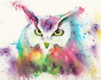 Owl A4 original watercolour painting