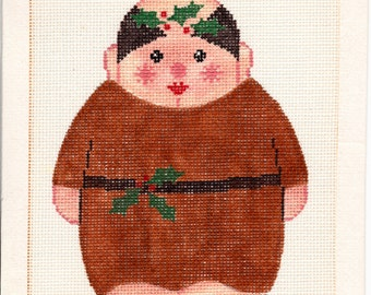 Hand Painted Needlepoint Canvas by JON, Friar, Monk, Priest, Mini Needlepoint, Christmas Pattern Canvas, Holiday Cross Stitch, X-162