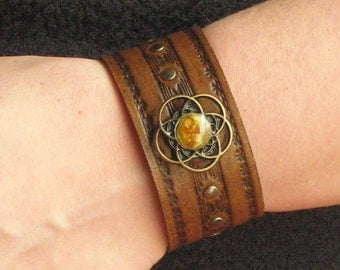 Leather Fashion Tooled Design Cuff Bracelet