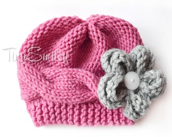 Knit Baby Girl Hat, Salmon Knit Baby Hat, Cable  Baby Hat, Baby Girl Outfit, Winter Girl Hat, Knit Baby Girl Hat, Salmon Newborn Hat