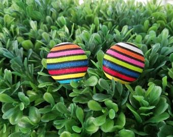 Rainbow Stripes - Small Handmade Fabric Button Earrings