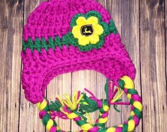 Pink Tractor hat, Inspired John Deere crochet hat