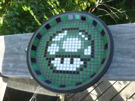 Mario Mushroom Mosaic Bird Bath - Made to Order- Geek / Nerd / 80's - choose your design and colour