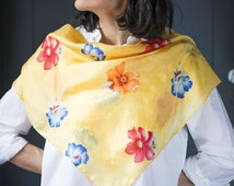 Yellow Lemon Silk Scarf Square Flowers - 70s Floral Red Blue Orange Blossom Pattern - Small Neck Scarf Retro Fashion - Lady's Summer Scarf