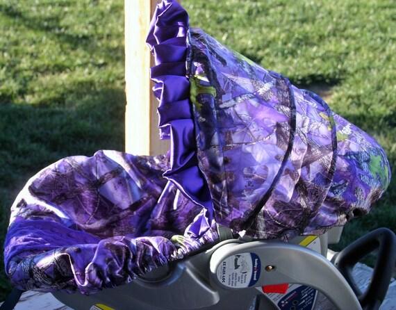 Purple True Timber Camo With Purple Minky Infant Car Seat