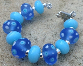 Blue Polka Dot Lampwork Glass Bead Set