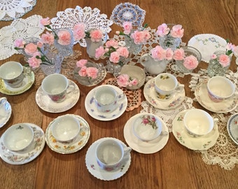 Mix and match tea cups with mix and match saucers, 12 of each
