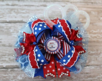 """Ready to Ship ~ 4th of July ~ 6"""" OTT Over the Top Hair Bow ~ Red White and Cute ~ Blue"""