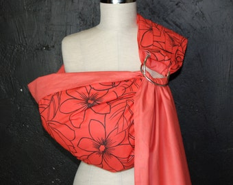 Baby Sling, Baby Sling Ring, Baby Carrier, Reversible Baby Sling, Baby Wrap, Baby Gift , Orange Baby Sling With Rings