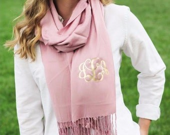 Personalized Pashmina Scarf - cashmere and silk blend monogram scarves - monogram scarf - fall accessory - back to school - college gift