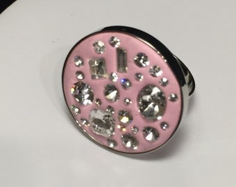 Round Pink and Crystal Ring