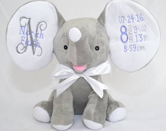 Baby Girl Gift - Baby Boy Gift - Gray Personalized Elephant Cubbie - Embroidered with Birth Statistics