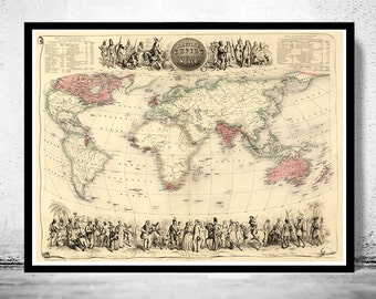 Old World Map Antique Atlas 1850