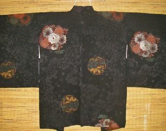 HAORI SILK URUSHI Vintage Japanese Haori Jacket Woven Urushi Flower Circles 1 Mon Black Silk Haori Kimono Jacket Vintage Japanese Silk Haori