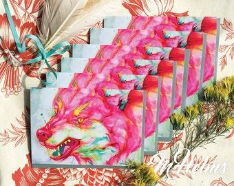 Note Card Set: Neon Wolf (Rage)