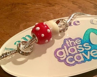 Handmade Large Hole  Toadstool Glass Bead