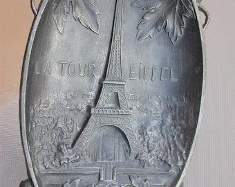Antique art deco  souvenir Paris Tower Eiffel paris sacret heart Cathedral church France Paris solid metal tray rose tree ornate tray