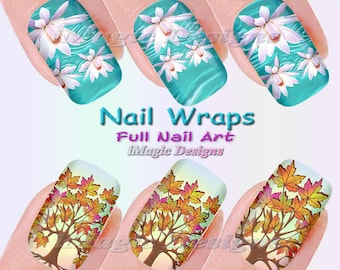 Nail Wraps, Waterslide Full Nail Decals, Stickers, Maple Tree or Water Lily, Fall Leaves Nail Art
