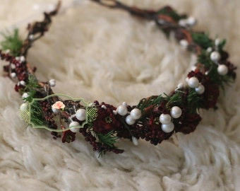 Ready to Ship/ BEAUTIFUL CHRISTMAS/ Holiday Flower crown/ Head Wreath/ Bridal/ Photography Prop, Woodland Grapevine Flower Crown /