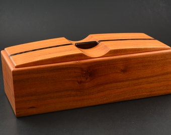 Wood box made from Black Cherry with Wenge accents keepsake trinket pen pencil