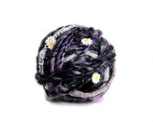 Hyacinth Purple Daisy Chain Yarn by Knit Collage ~ Handspun Flower Garland Inspired Art Yarn ~ Wool, Soft, Lace Embellished Yarn