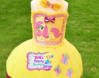 Inspired by Fluttershy My Little Pony Tutu Dress & Headband/Fluttershy Costume/Flutterfly Dress/My Little Pony Costume/Halloween Tutu Dress