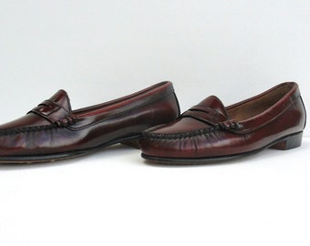 70s 80s Oxblood Loafers, Vintage Dexter Penny Loafers 10 W Maroon Slip Ons Excellent, 70s 80s Preppy Shoes Ten Wide Burgundy Dexter Slip Ons