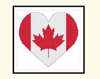 PDF Pattern Canadian Flag Heart Large