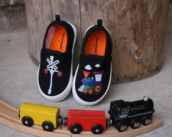 HAND PAINTED TRAIN Shoes, Train Outfit, Toddler and Children Sizes