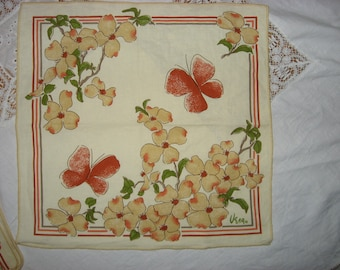"Vintage Vera Set of 4 Dogwood Flowers/Butterflies Framed by Mauve Pink Gray Stripes Hemstitch Edges Great Vintage Cond. 16"" x 16"""
