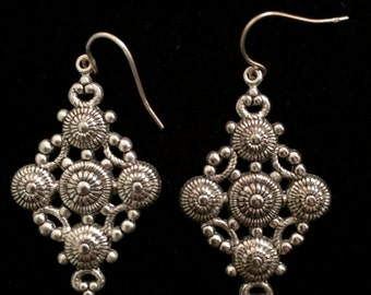 Exquisite Detailed Moroccan Style Silver Earrings