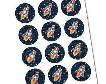 Rocket Ship DIY Stickers/Tags- Digital File