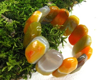 Natural  Agate Bracelet Gemstone wide chunky bangle elastic cuff bracelet orange yellow warm color fashion jewelry bracelets for women OOAK