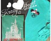 Christmas Castle Disney Shirt - Green and Red Glitter Vinyl - Comfort Color - Disney Monogram - Disney Shirt - Castle Monogram