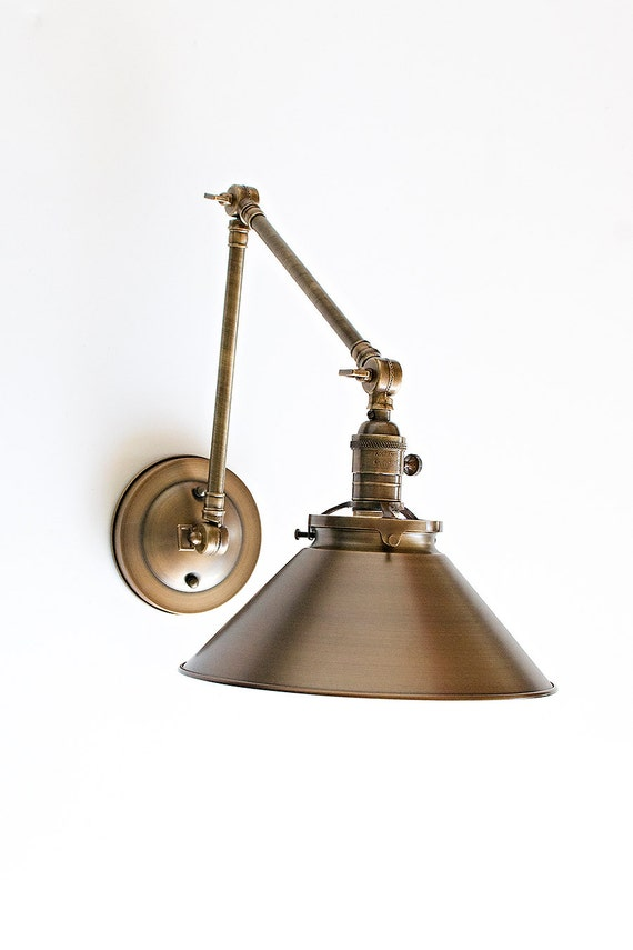 Wall Lights With Adjustable Arms : Wall Sconce With Metal Cone Shade and Adjustable Arm