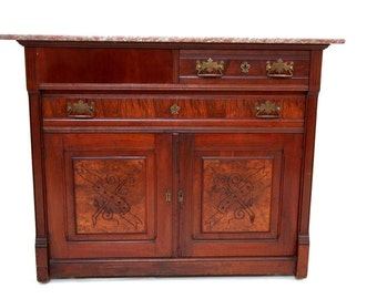 Gorgeous Antique French Country Mahogany Buffet Sideboard Granite Top on rollers Insured safe nationwide shipping available