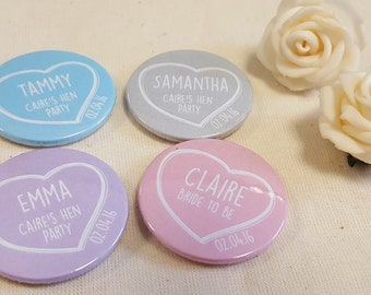 Personalised Quirky Heart / Chalk Hen Party / Wedding / Team Bride Badge / wedding accessories - Different names for each badge