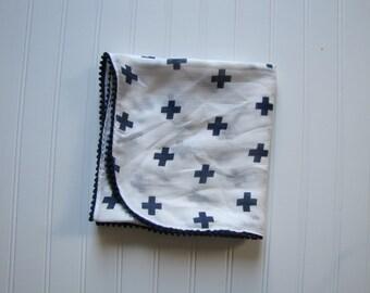 Gauze Swaddling Blanket - Muslin Receiving Blanket - Swaddling Blanket - Plus Sign Baby Blanket - Nursing Cover - Made 4U Handmade Designs